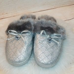 NWOT Michael Kors slip on furry glitter slippers 6